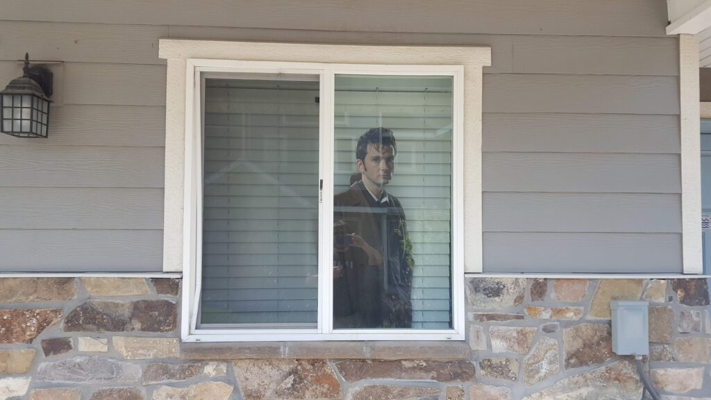 David Tennent cardboard cutout scaring the crap out of my on the second day of passing out cards.
