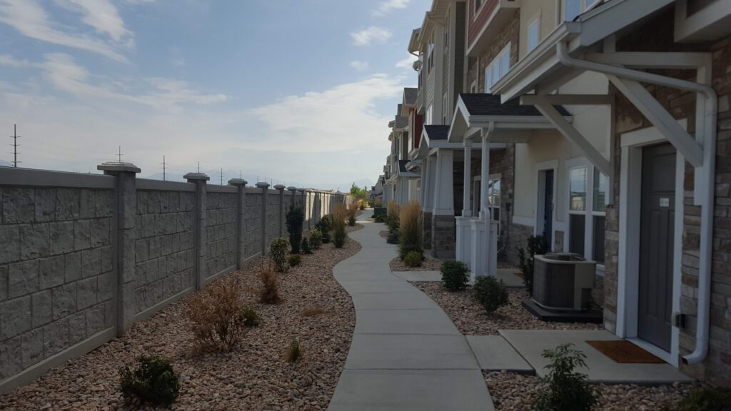 Long row of townhouses where I passed out cards.