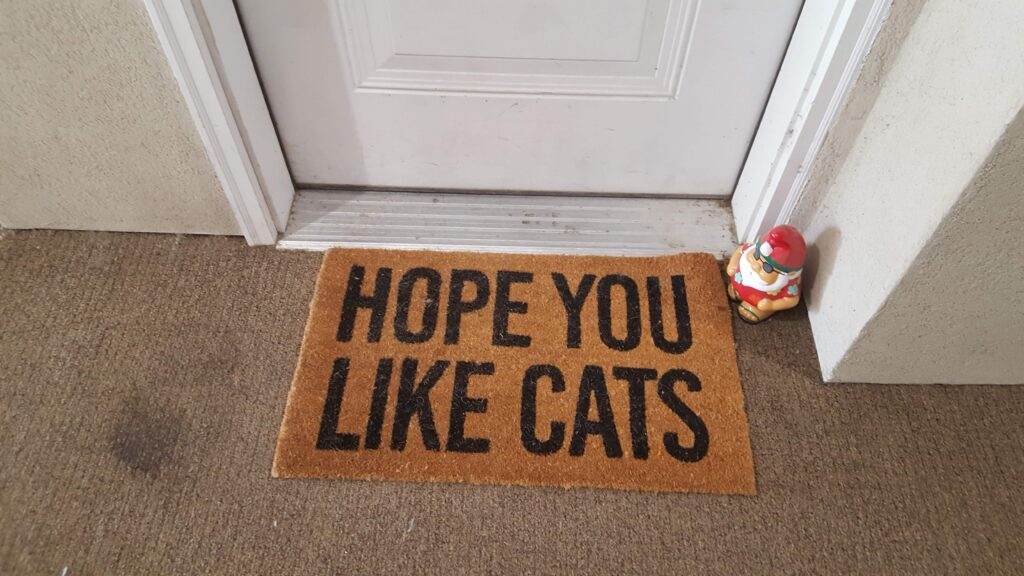 """""""Hope You Like Cats"""" door mat. There were many animal related mats while I passed out cards."""