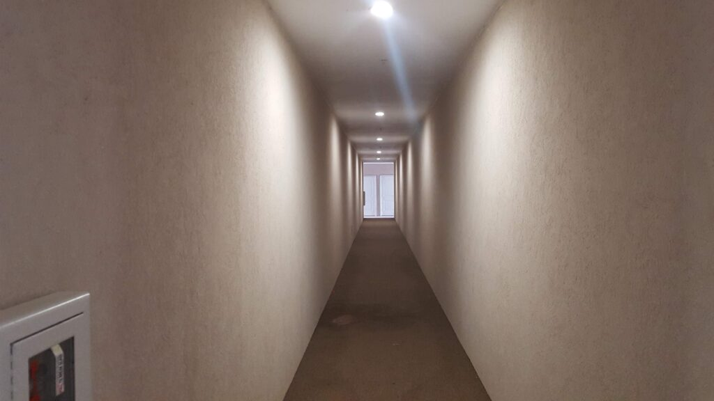 The corridor where I thought I was being chased when I passed out my cards.