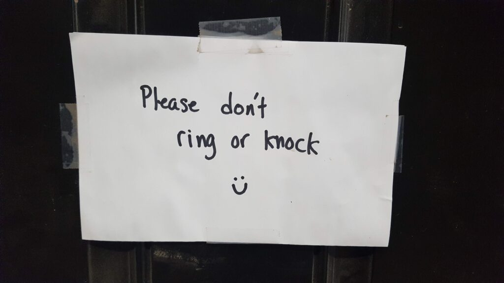 """""""Please don't ring or knock :)"""" A sign I'm still trying to figure out from my cards experiment."""