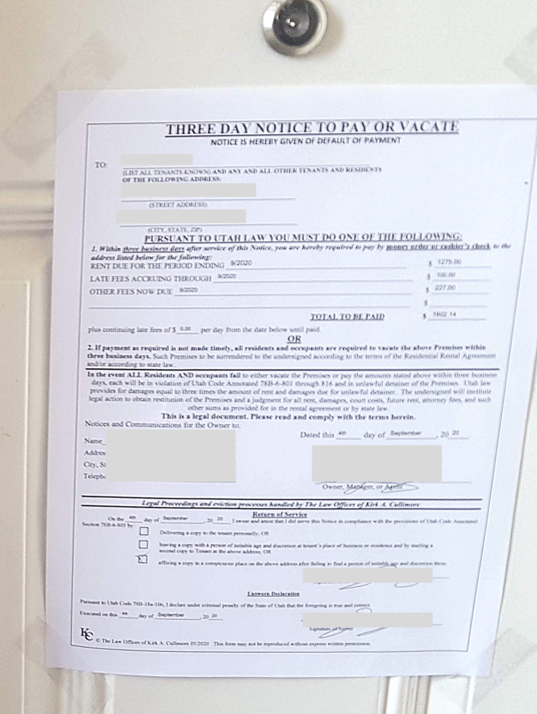 One of many sad eviction notices I saw with my cards experiment.