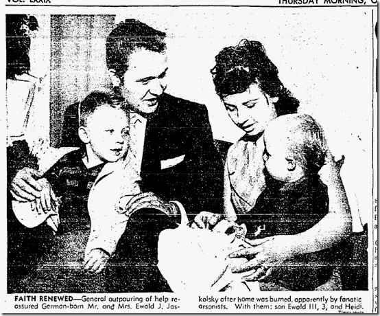 My grandparents, my dad at age three, and my aunt was one. This was a picture of them from when an arsonist burned down their home. They were just trying to live the best life they could, but the hatred and racism of the day destroyed their home.