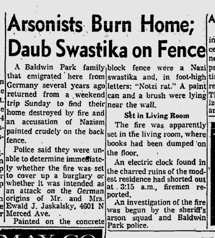 California newspaper article from Oct 24th,1960. Arsonists burned down my grandparents home when my dad was only three years old.