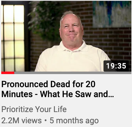 Pronounced Dead For Twenty Minutes. The video that has been viewed millions of times around the world. Showing our curiosity about death.
