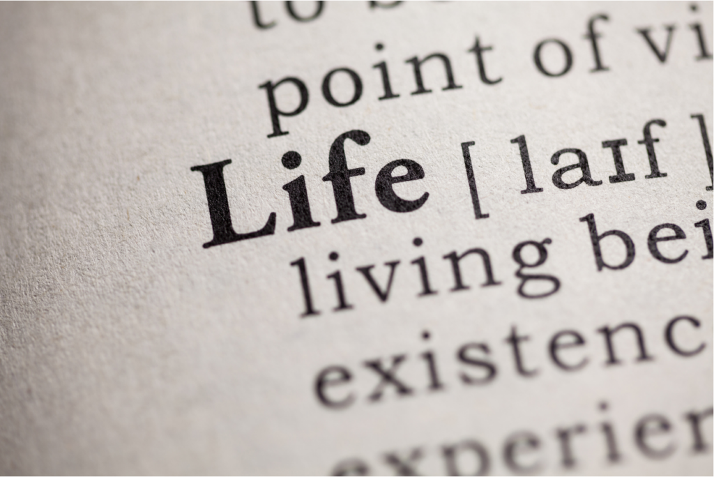 Image of the definition of life. We all have to decide for ourselves what it means to live. Death has a way of putting that into perspective.