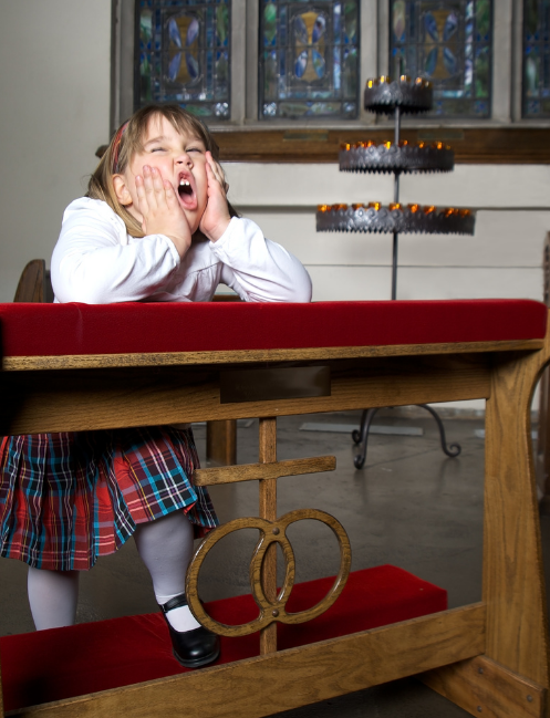 Bored girl in church is not learning the lesson that no one is boring.