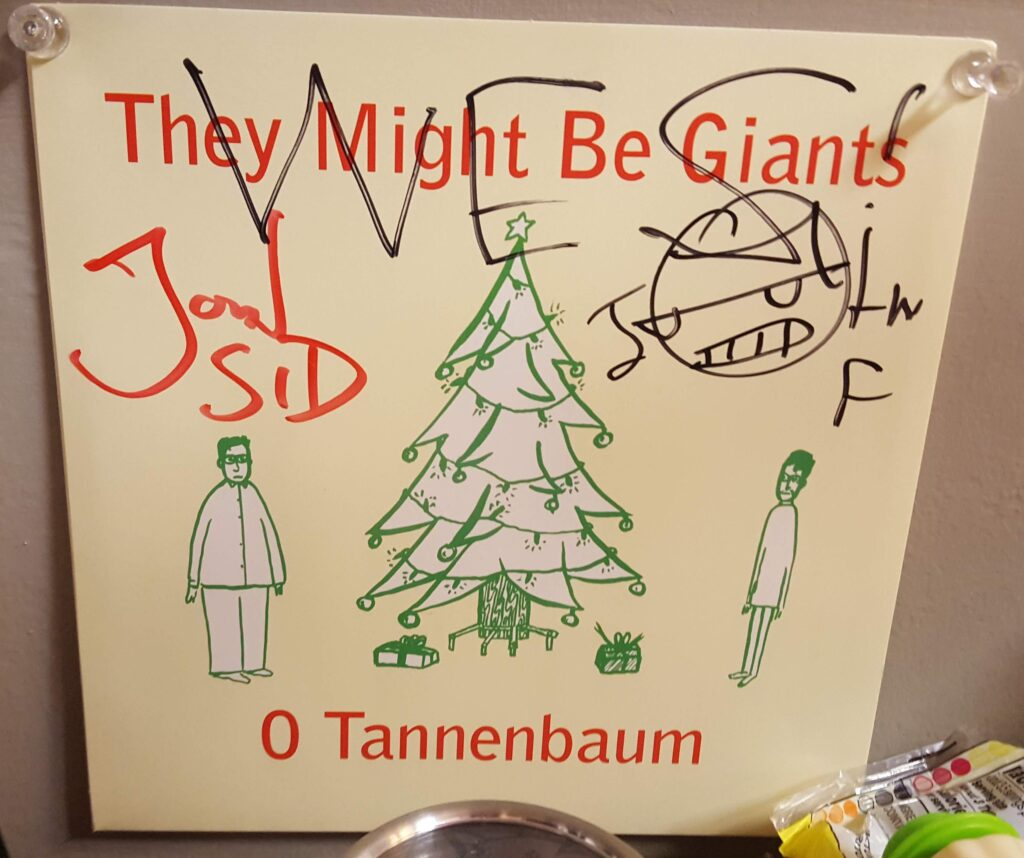 John Flansburgh and John Linnell of They Might Be Giants, TMBG, AKA on YouTube - ParticleMen, signed this record.
