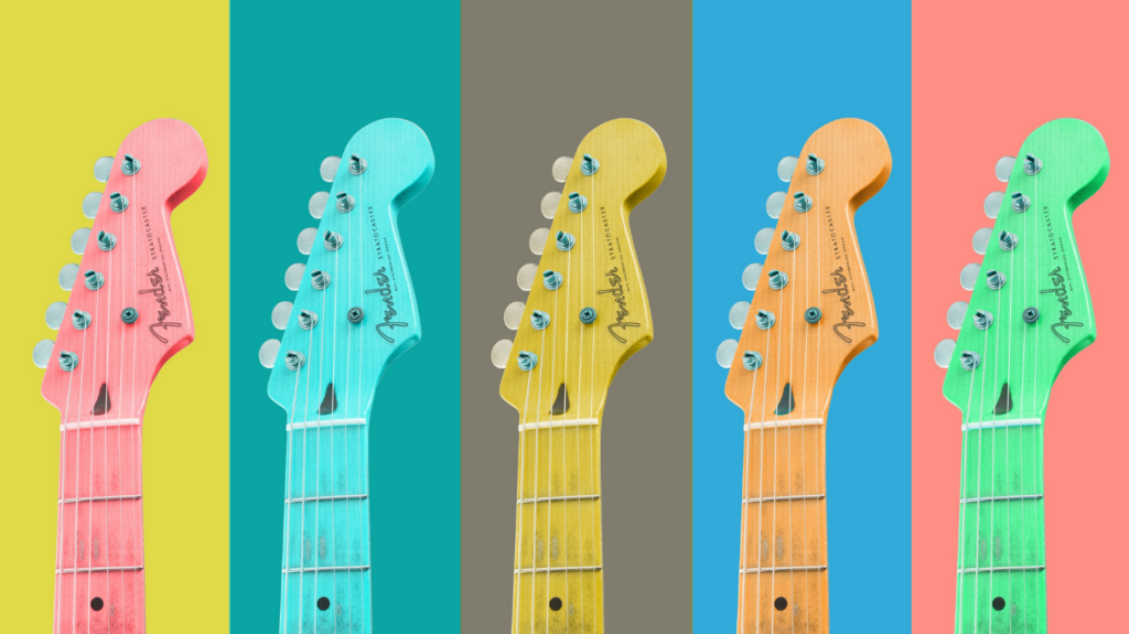 Awesome fender guitars lined up in a pretty row. Dangit I love guitars and writing music.