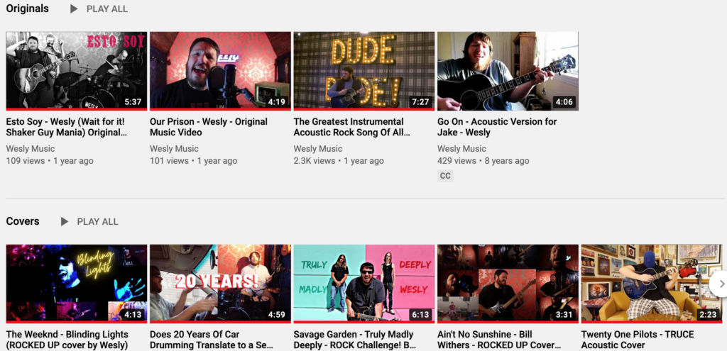 The YouTube music channel of Wesly. He has a number of cover songs and original songs.