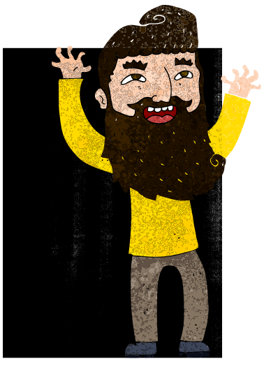 Beard man is excited to create and to narrate his own life.