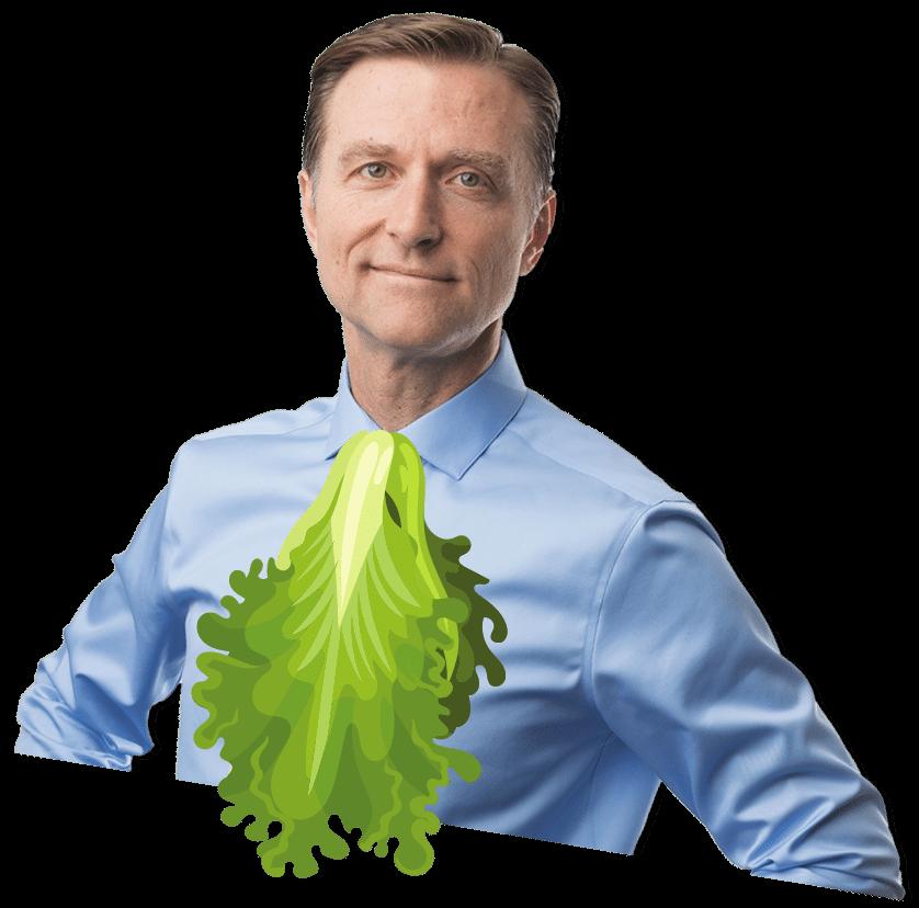 Dr. Berg wearing a lettuce tie. Nice one Dr. Berg.